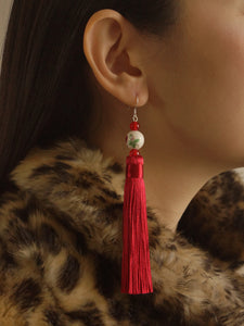 Diao Chan Earrings (925 Silver Earhooks) - Red