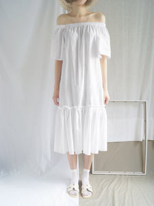 Tahini Off-Shoulder Dress - White - Gabi The Label