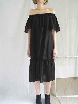 Tahini Off-Shoulder Dress - Black - Gabi The Label
