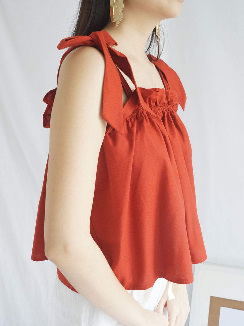 Tulia Ribbon Top - Brick Red