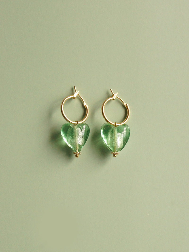 Glass Heart Hoops - Mint *18K Gold-plated