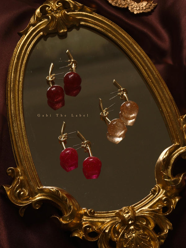 Glitter Cherry Earrings – Wine Red