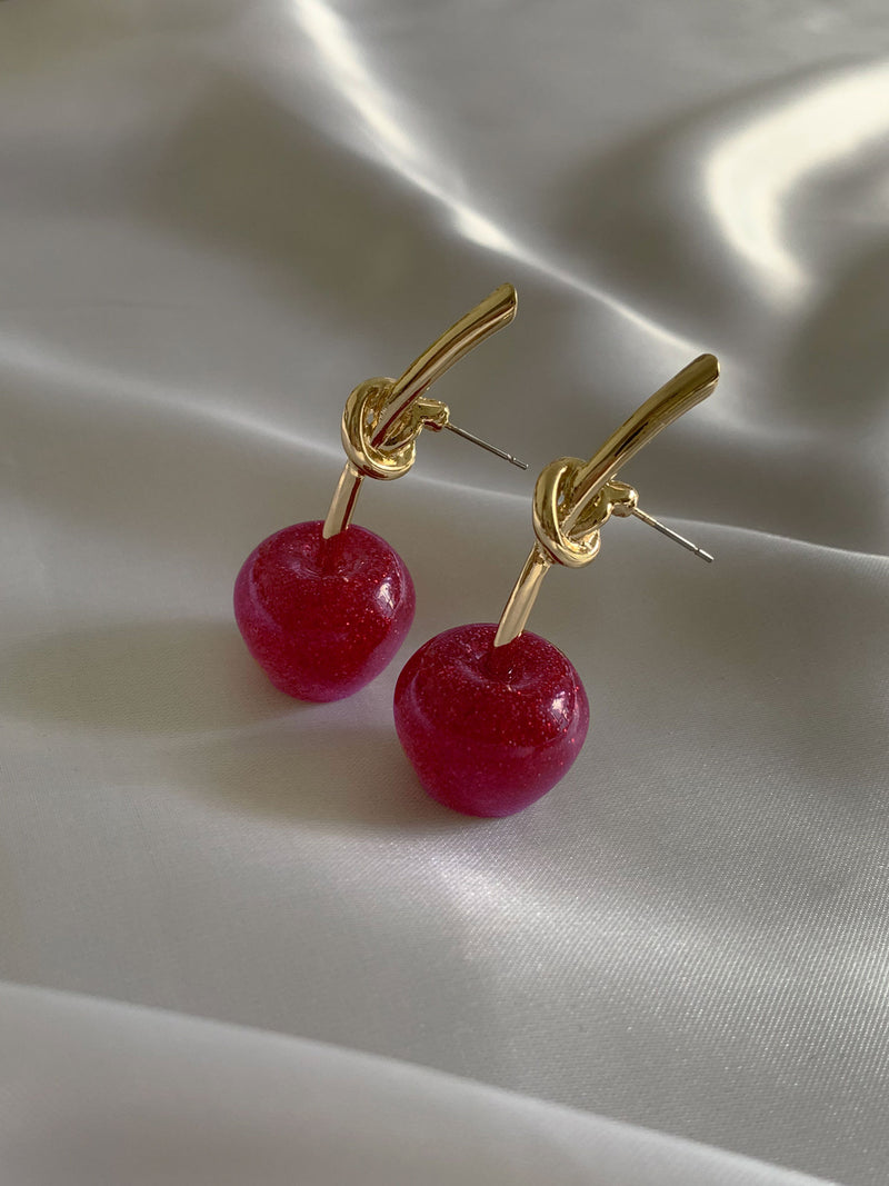 Glitter Cherry Earrings – Magenta