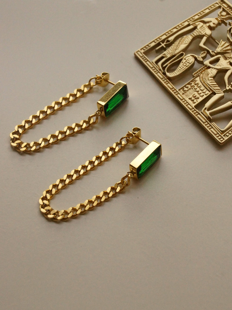 Titanium Steel Chain Earrings - Emerald Green *18K Gold-plated