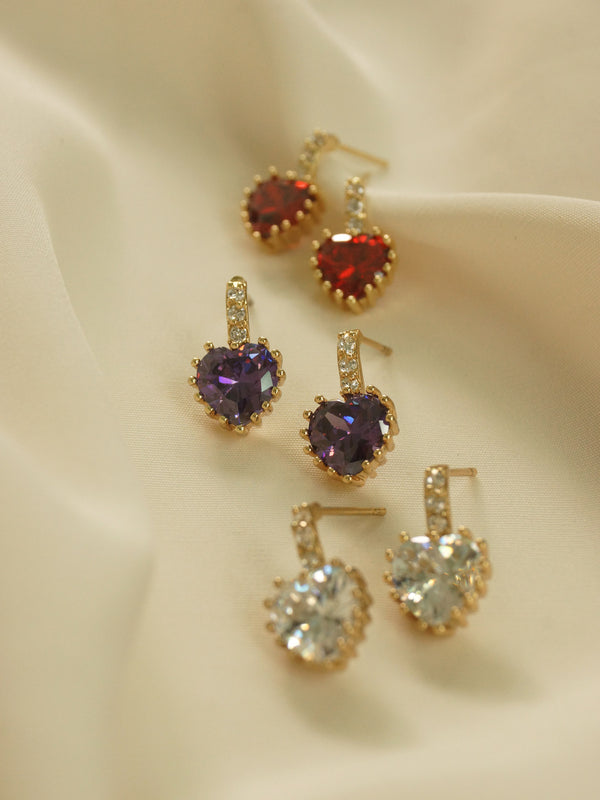 Jewel Heart Earstuds - Red *18K Gold-plated