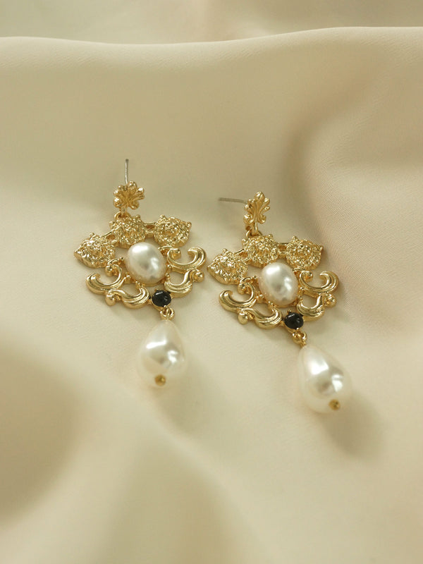 Three Lions Pearl Earrings *S925 Earposts