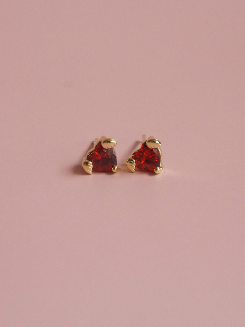 LOVE Earstuds - Ruby Red *Gold-plated