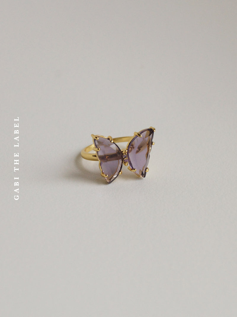 LOVEDAY Butterfly Ring - Purple *Gold-plated