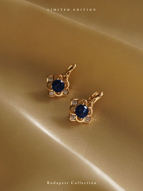 LUJZA Earrings - Dark Blue *Gold-plated // GABI EXCLUSIVE