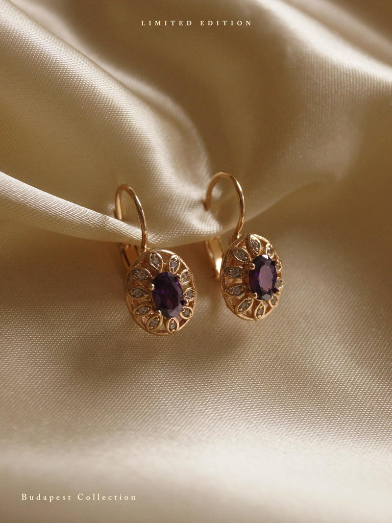 MARTUSKA Earrings - Amethyst Purple *Gold-plated // GABI EXCLUSIVE