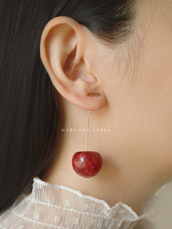 MIKA Floral Cherry Earrings - Red *Gold-plated stems