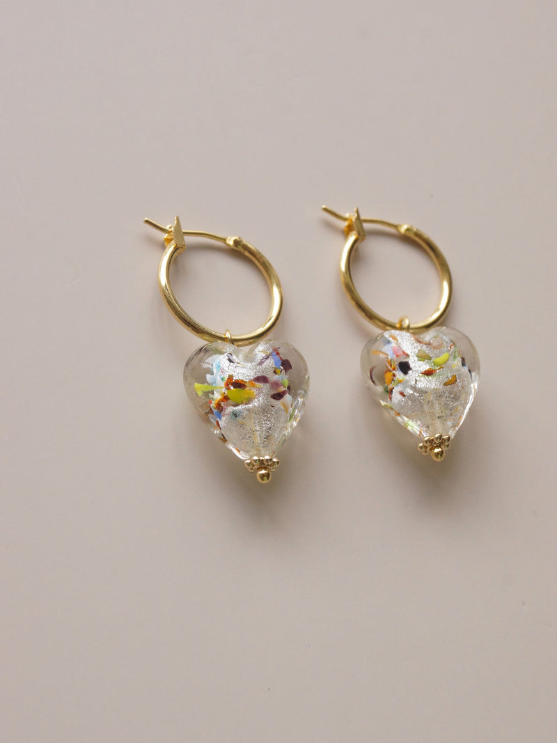 Glass Heart Hoops - Mosaic Clear *18K Gold-plated
