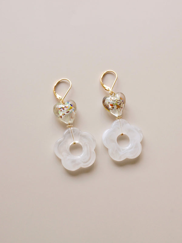 Mosaic Camellia Earrings *18K Gold-plated