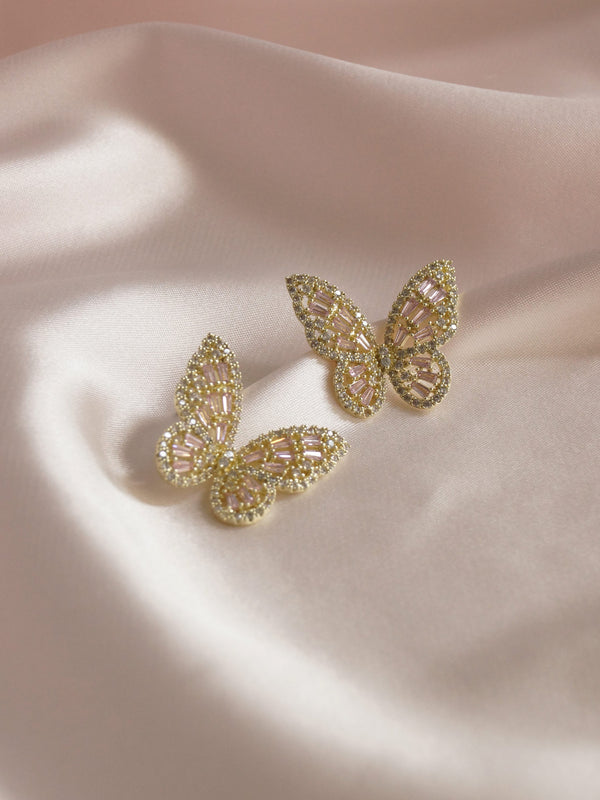 OAHU Butterfly Earrings - Pink *Gold-plated S925 Earposts