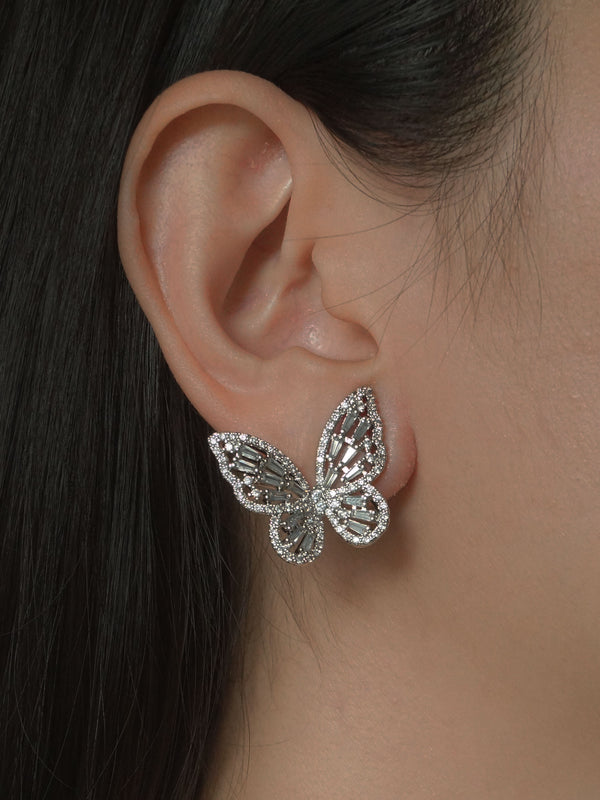 OAHU Butterfly Earrings - Silver *Platinum-plated S925 Earposts