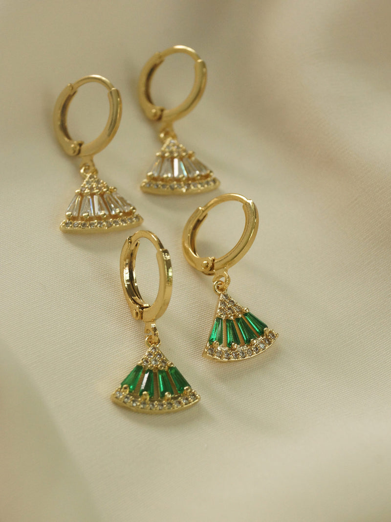 Origami Earrings - Green *18K Gold-plated