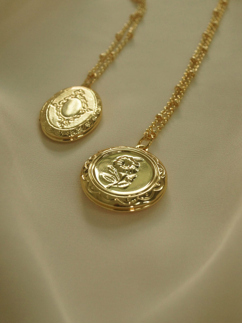 Flower Locket Necklace *14K Gold-plated