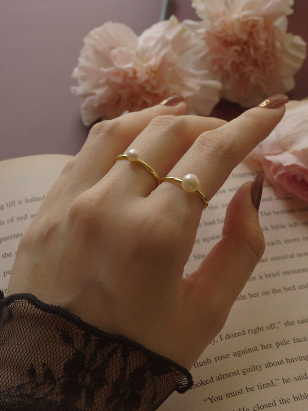 Pearl Ring - Medium Pearl *14k Gold-plated S925