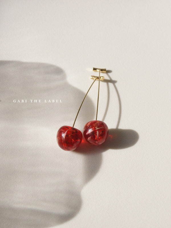 Petit MIKA Floral Cherry Earrings - Red *Gold-plated stems