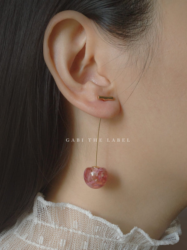 Petit MIKA Floral Cherry Earrings - Pink *Gold-plated stems