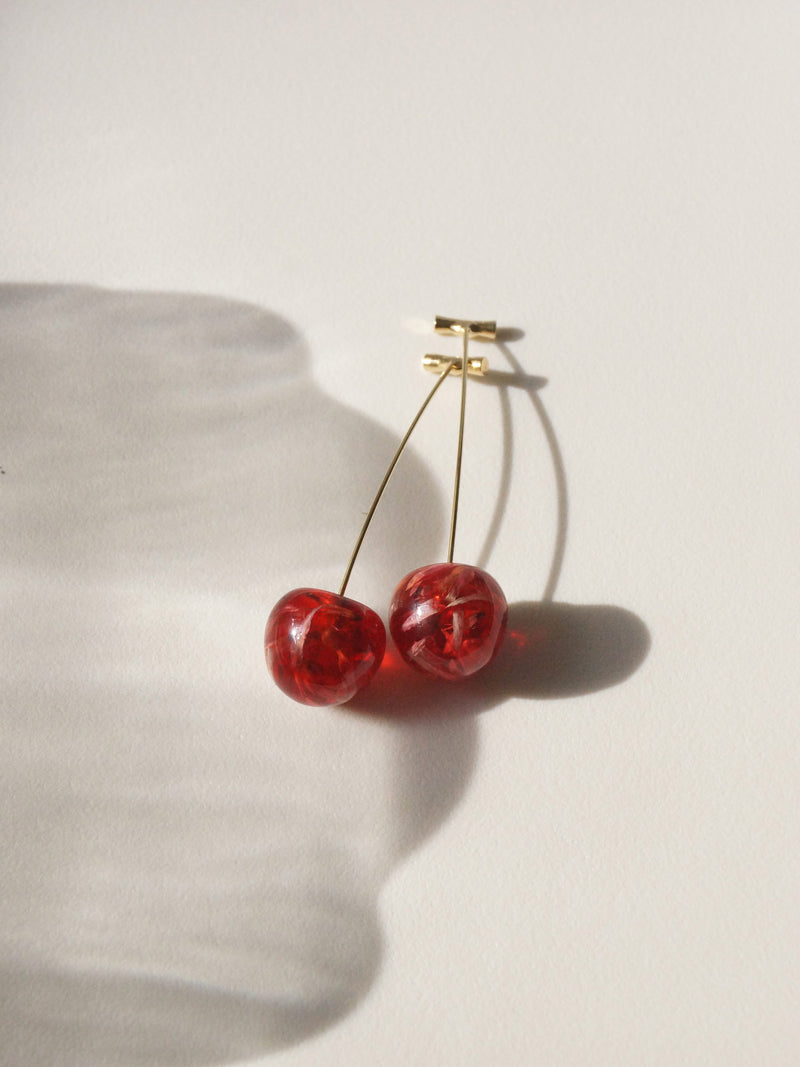Petit MIKA Floral Cherry Earrings *Gold-plated stems