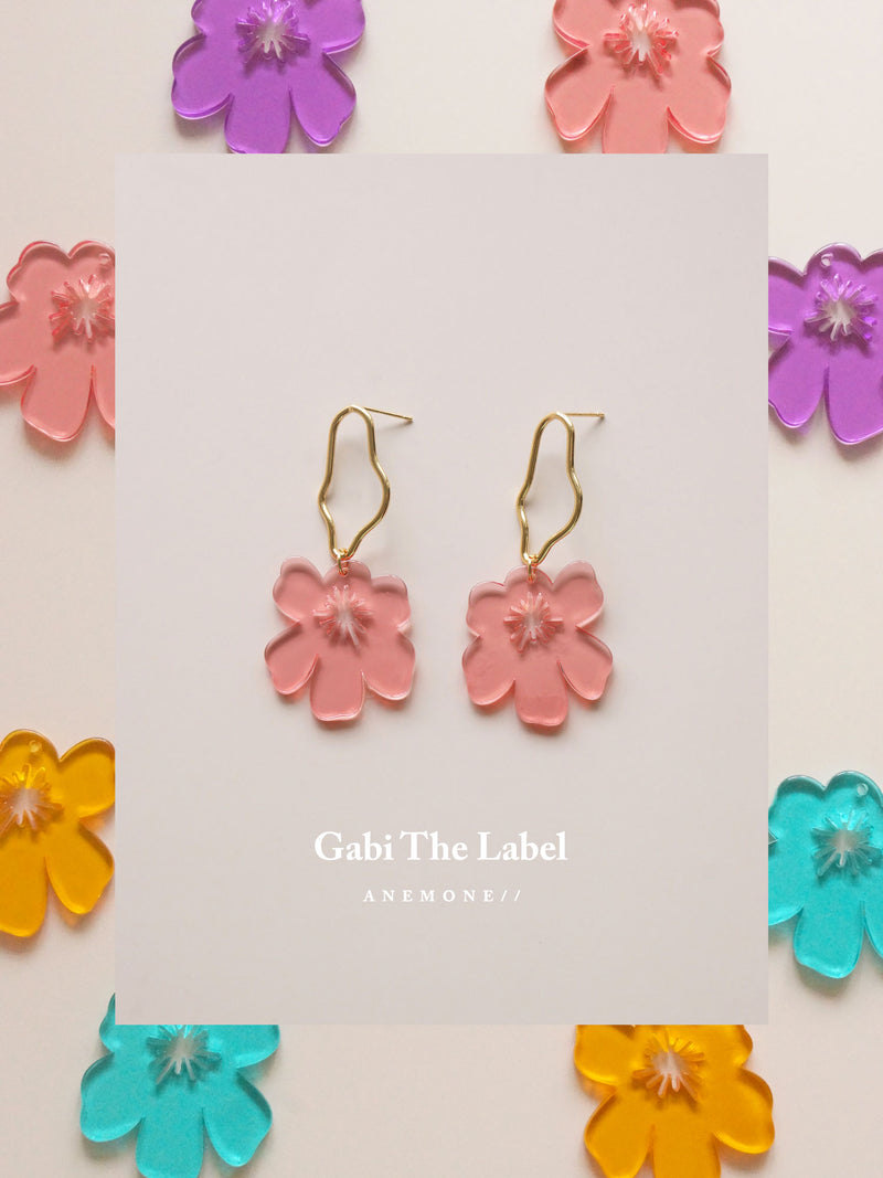 Anemone Earrings - Petunia Pink