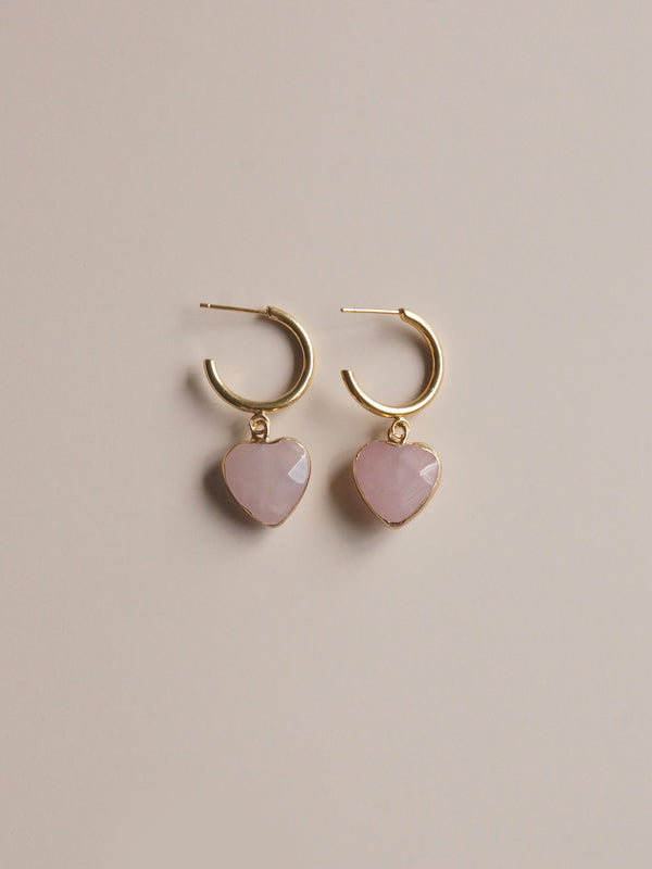 Blush Stone Heart Hoops *18K Gold-plated
