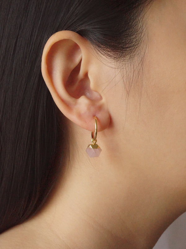 Little Stone Hoops - Blush Pink *18K Gold-plated