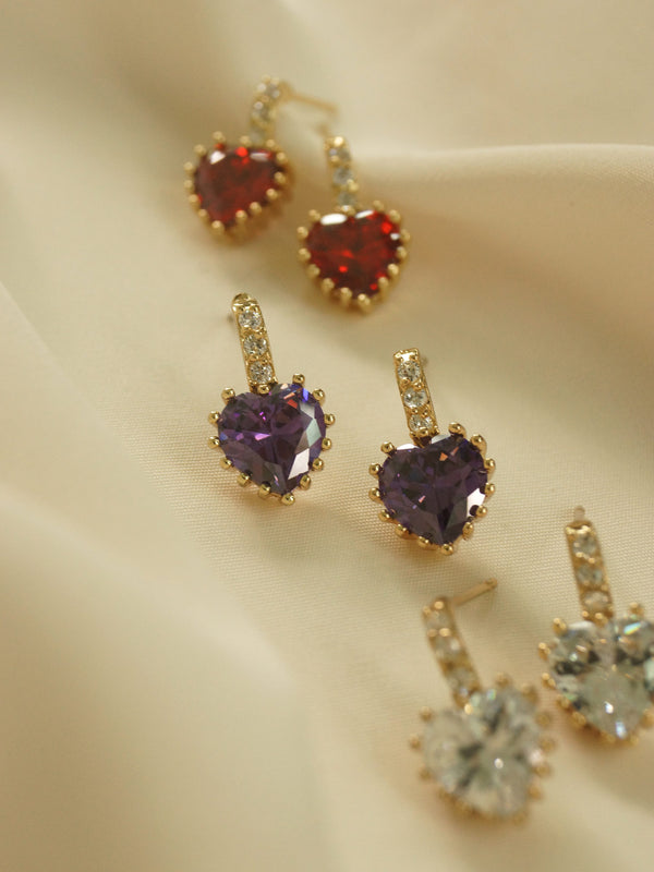 Jewel Heart Earstuds - Purple *18K Gold-plated