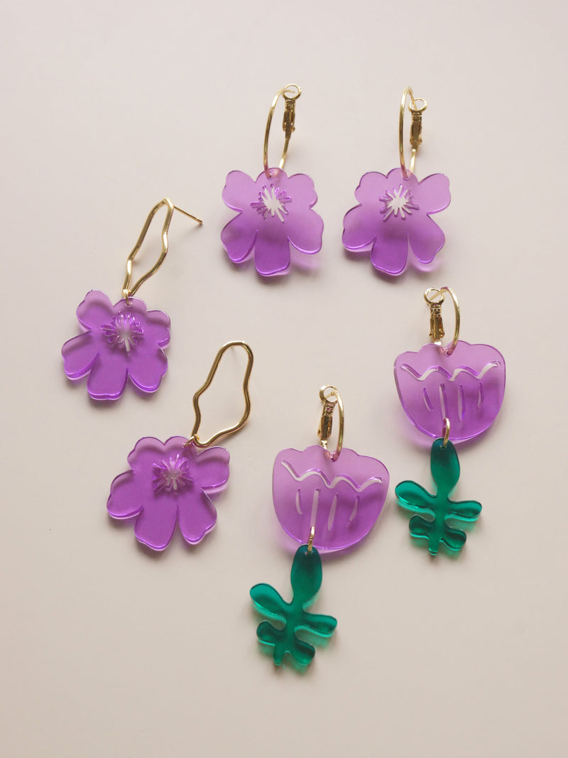 Anemone Earrings - Violet Purple