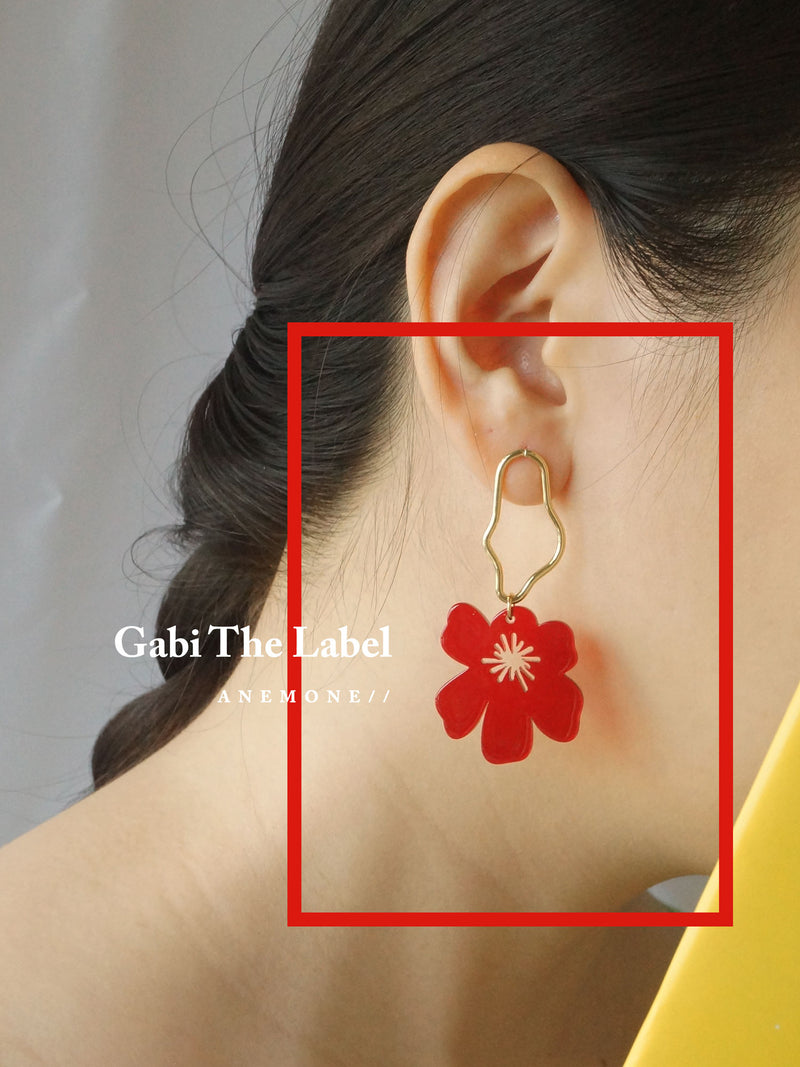 Anemone Earrings - Cherry Red