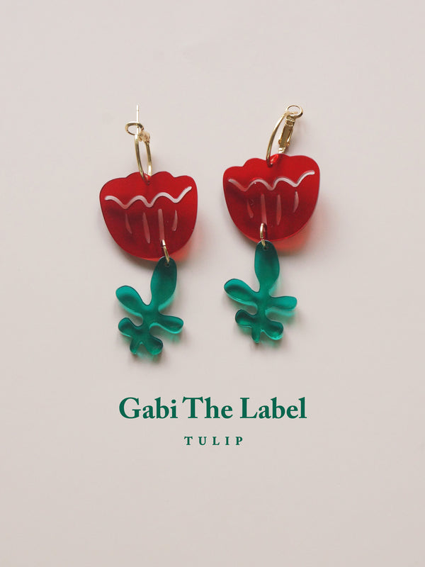 Tulip Dangles - Cherry Red