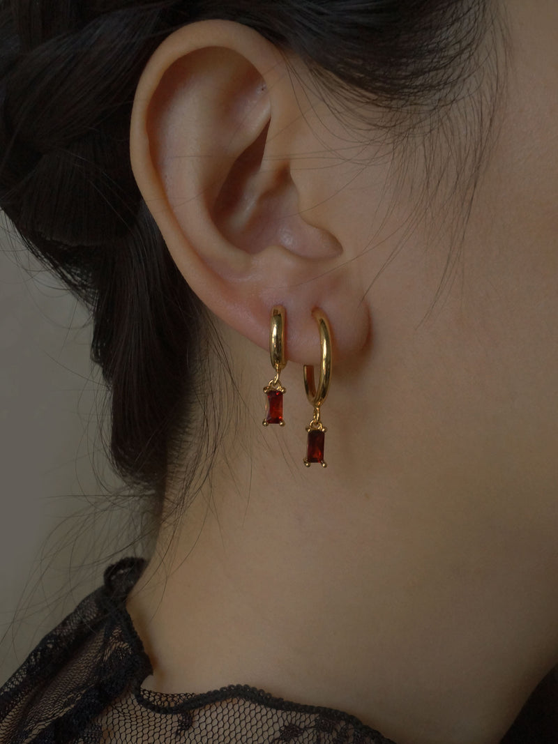 ILLUMINATE Hoops - Garnet Red *18K Gold-plated