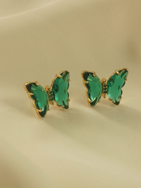 RIKA Butterfly Earstuds - Emerald Green *S925 Earposts