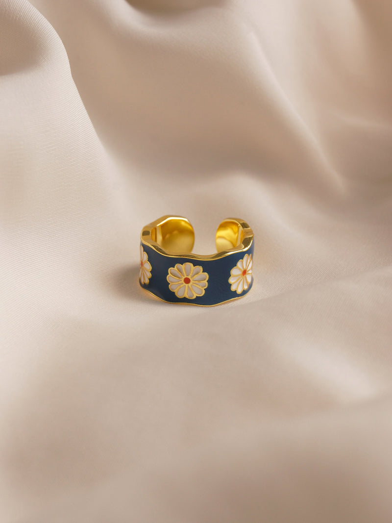 SAORI Ring - Blue *Gold-plated S925