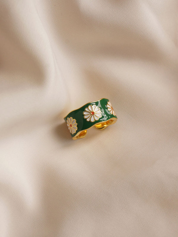 SAORI Ring - Green *Gold-plated S925