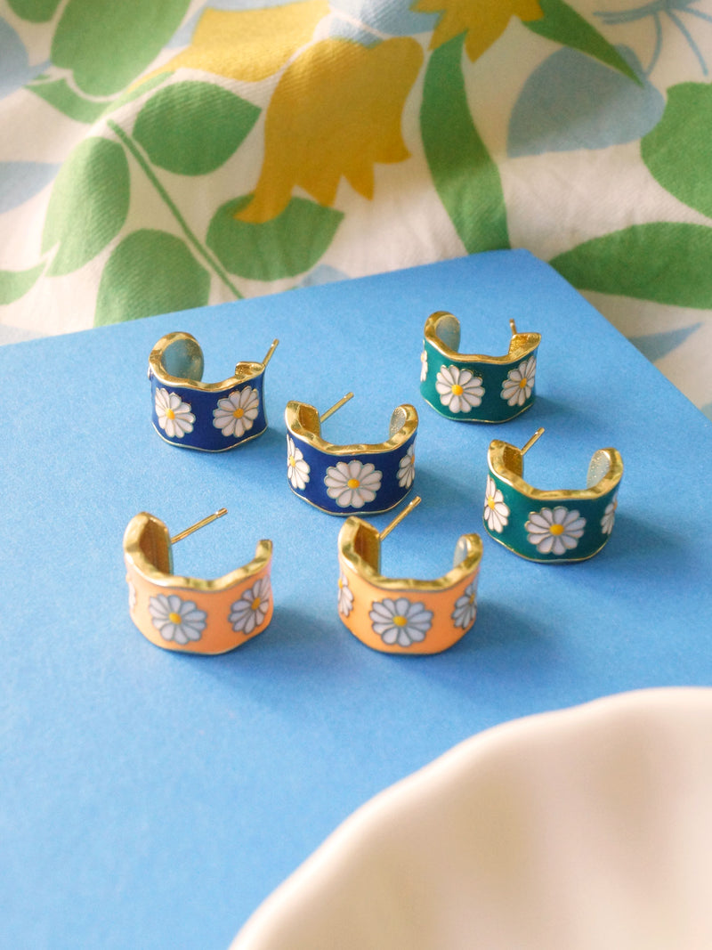 SAORI Hoops - Blue *Gold-plated S925