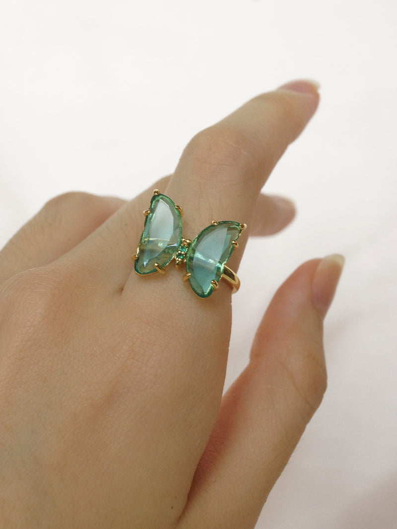 LOVEDAY Butterfly Ring - Seafoam Green *Gold-plated