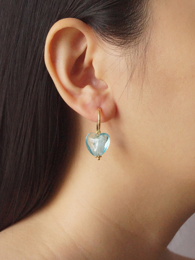 Glass Heart Hoops - Sky *18K Gold-plated