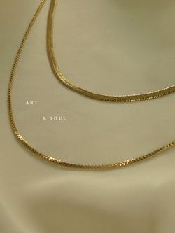 Layered Snake Chain Necklace *18K Gold-plated Stainless Steel