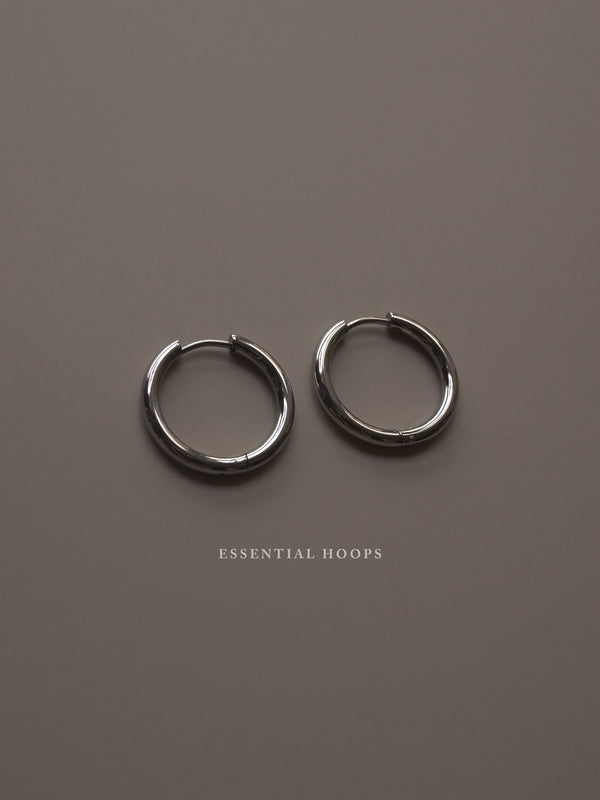Stainless Steel Essential Hoops - Silver *Platinum-plated