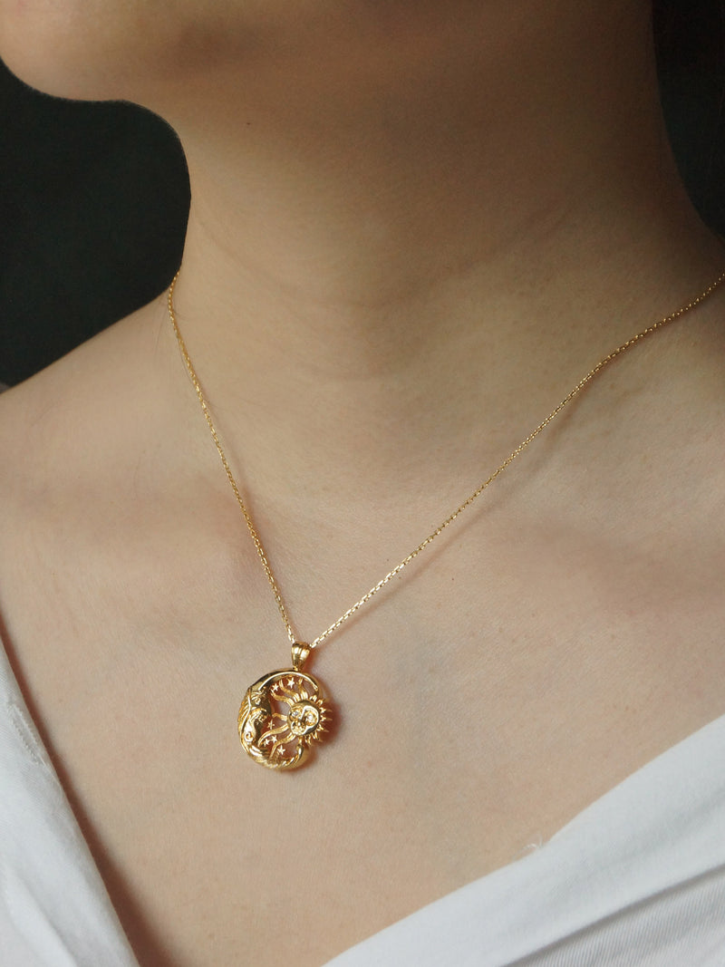 The Sun and Moon Necklace *18K Gold-plated
