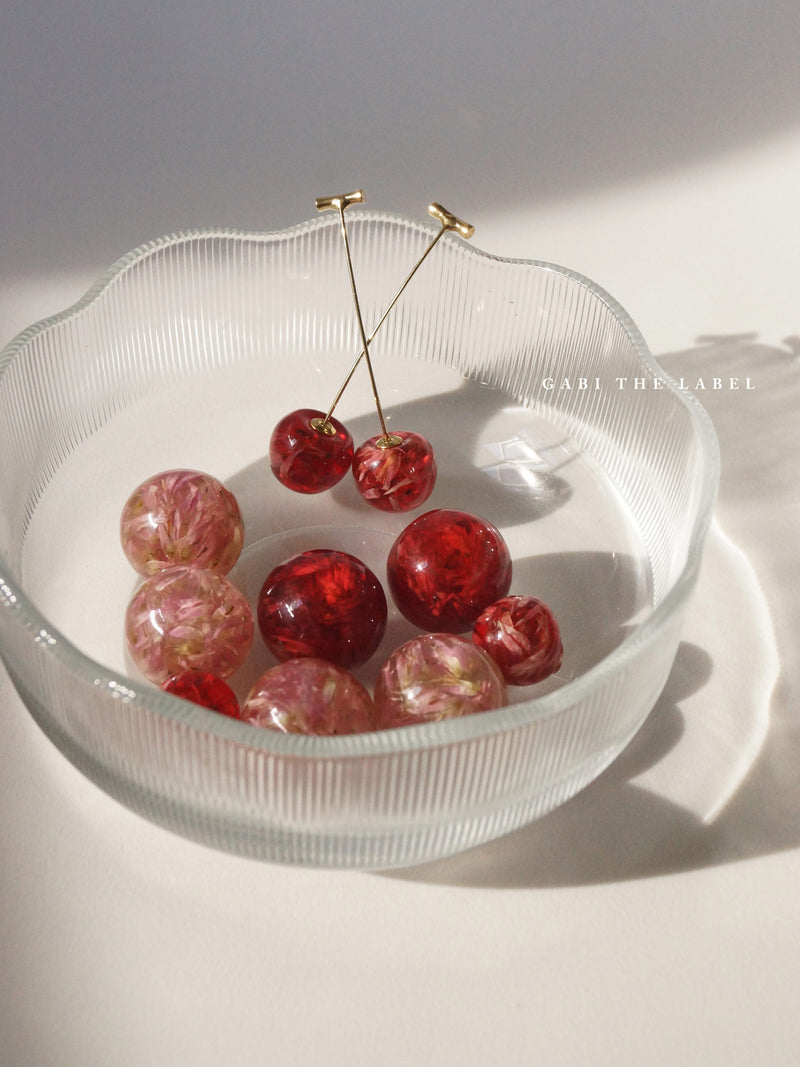 MIKA Floral Cherry Earrings - Clear Pink *Gold-plated stems