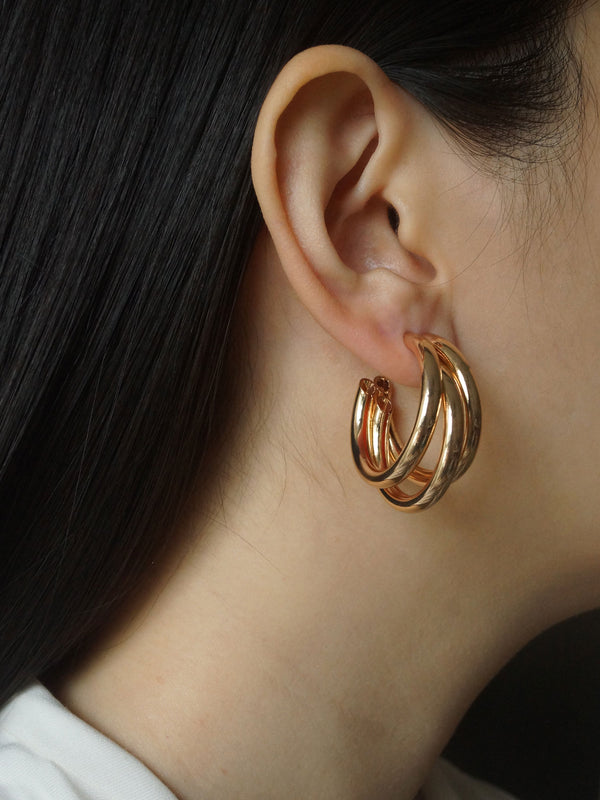 Bold Triple Hoops - Gold *Gold-plated