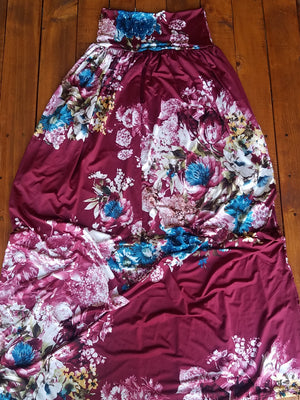 Floral Wine Gathered Maxi Skirt