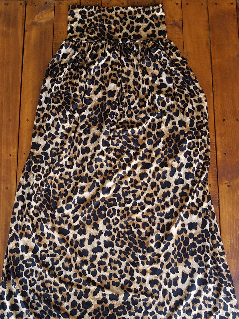 Leopard Gathered Maxi Skirt