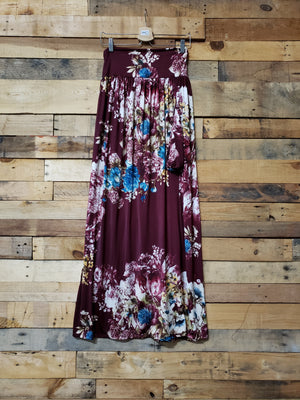 Floral Dark Burgundy Gathered Maxi Skirt