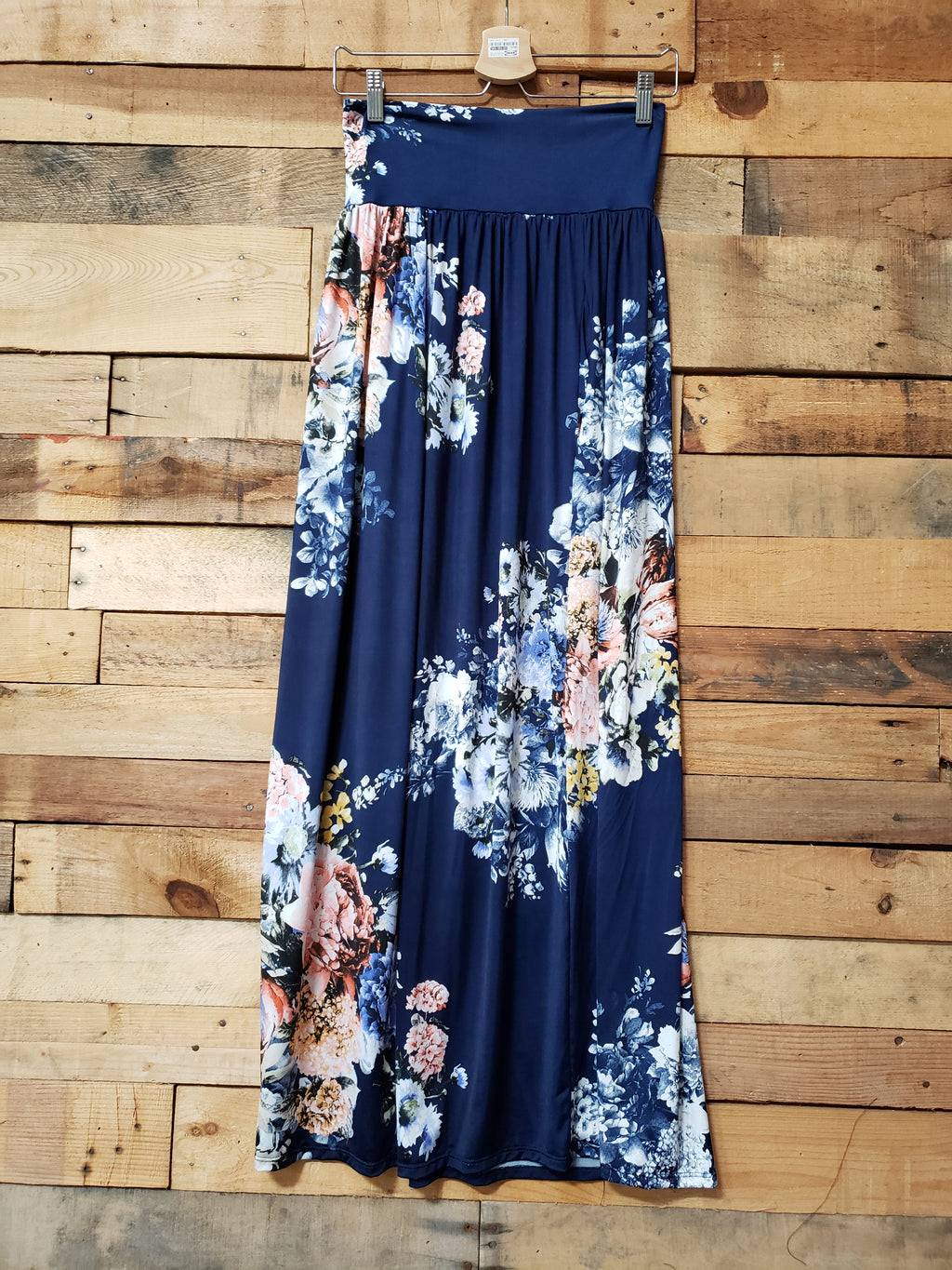Floral Navy Gathered Maxi Skirt