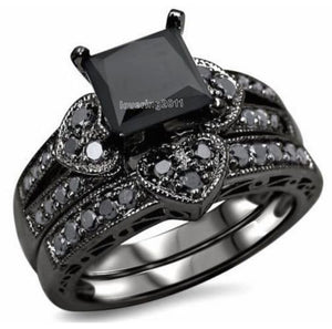 choucong Princess cut black Stone 5A Zircon stone 10KT Black Gold Filled Bridal Engagement Wedding Ring set Sz 5-11 Gift