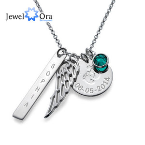 Personalized 925 Sterling Silver Birthstone Article Name Brand With Wings Necklace DIY Name jewelry Gift (JewelOra NE101377)
